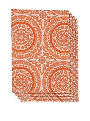 Couleur Nature Set of 4 Medallion Placemats, Tangerine