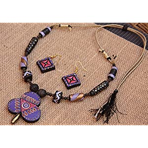 Petals of Earth Terracotta Pink, violet, and gold clover set with hanging earrings