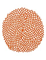 Chilewich Dahlia Round Floral Placemat, 14.25 by 15.25-Inch, Orange