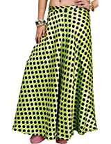 Exotic India Wrap-Around Skirt with All-Over Polka Printed Dots - Color Green GlowGarment Size Free Size