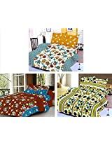 Nature Made Pack of 3 Green & Yellow & Brown Printed Double Bed Sheets 250 TC