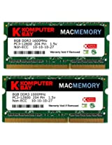 Komputerbay MACMEMORY 16GB (2x 8GB) PC3-12800 1600MHz SODIMM 204-Pin Laptop Memory 10-10-10-27 for Apple Mac