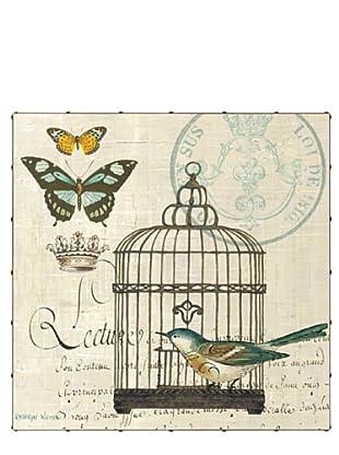 "Kathryn White Bird Botanical No. 2 Hand-Embellished Canvas, 35"" x 35"""