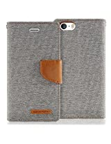 iPhone SE Case, [Wallet Case] for Apple iPhone 5SE, MERCURY® Canvas Diary [ID Credit Card Slots] [Cash Pocket] Woven + PU Leather [Drop Protection] Flip Media Stand Cover - Gray / Camel