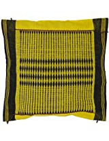 Yellow Hand-woven Cushion Cover from Nagaland with Tribal Motifs - Pure Cotton