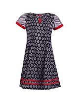 Karni Women's Cotton White & Black Kurti