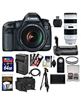 Canon EOS 5D Mark III Digital SLR Camera with EF 24-105mm L IS & 70-200mm f/2.8L USM Lens + 64GB Card + Grip + Battery & Charger + Case + Tripod Kit