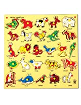 Skillofun Animal Alphabet Tray with Knobs, Multi Color