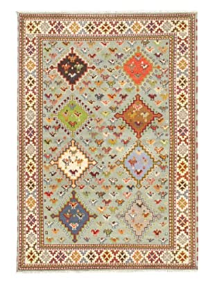 Hand-Knotted Royal Kazak Wool Rug, Light Blue, 5' 7