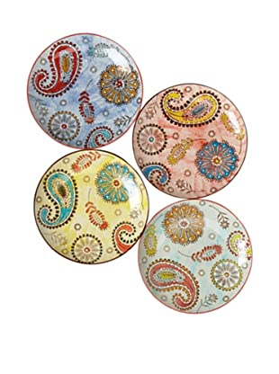 Couleur Nature Set of 4 Paisley Ceramic Round Plates