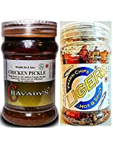 Meat Lover's Combo - CHAVADY's Chicken Pickle 300 Gms & LIGER Prawn Chips 50 Gms