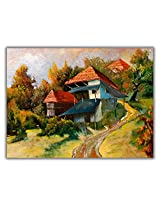 TIA Creation Village Scene With Old Ruin House Canvas 0194 Print on Cotton Canvas 31inch x 22inch