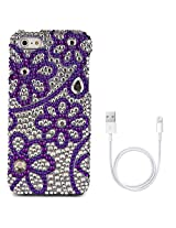 VanGoddy Flower Rhinestones Full Diamond Back Cover for Apple iPhone 5s (Purple) + Data Cable