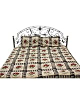 Exotic India Beige and Black Bedspread from Pilkhuwa with Printed Flowers - Pure Cotton