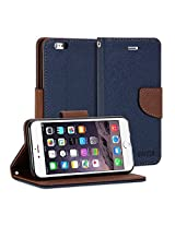 iPhone 6s Plus Case, GMYLE Wallet Case Classic for iPhone 6s Plus - Navy Blue & Brown PU Leather Slim Stand Case Cover