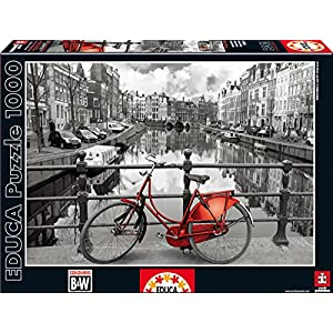 1,000 Piece Puzzle Black And White With Color - Amsterdam