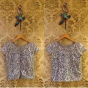Tiara by Roshini Shah Silver Lace Top