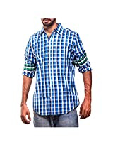 Urban Polo Club Blue Multicolored Shirt Large- Full Sleeve