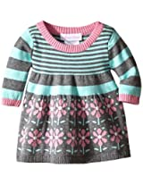 Bonnie Baby Baby-Girls Infant Floral Border and Stripe Sweater Dress