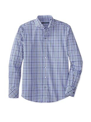 Zachary Prell Men's Quentin Checked Long Sleeve Shirt (Blue/White)