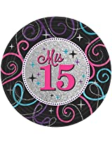 Amscan Elegant Miss Quince Anos Birthday Party Dinner Plates, Black/Gray, 9""