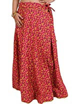 Exotic India Drawstring Long Ghagra Skirt with Printed Leaves and Piping - Color HoneysuckleGarment Size Free Size