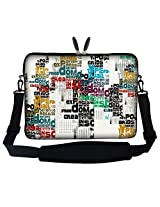 Meffort Inc 17 17.3 inch Neoprene Laptop Sleeve Bag Carrying Case with Hidden Handle and Adjustable Shoulder Strap - Messy Word Design