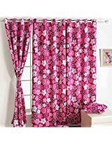 Swayam Printed Blackout Window Curtain With Eyelets - Pink Flower
