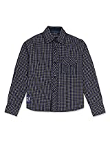 Dark Checked Boys Full Sleeve Shirt Indigo