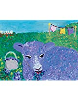 Oopsy daisy Lavender Lamb Stretched Canvas Wall Art by Mary Jo Olsen, 18 by 14-Inch
