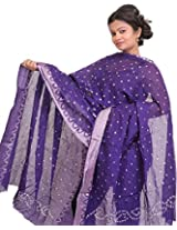 Exotic India Bandhani Tie-Dye Dupatta from Gujarat with Woven Border - Color Purple ReignColor Free Size