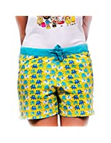 Elephant Pattern Women Yellow Boxer Short