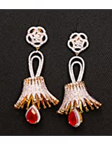Gioielleria Fashion Swaroski studded danglers in silver with red drops Earring