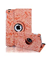 HDE iPad Mini Tablet Case Rotating Flip Stand Folding Magnetic Cover for Apple Mini 2/3 Retina (Orange Embossed Flower)