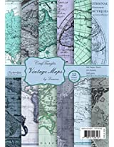 CrafTangles Scrapbook & Craft paper pack - Vintage Maps (A4 Patterned Paper)