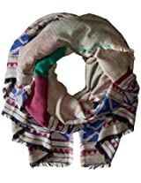 Lucky Brand Women's Geo Border Blanket Scarf, Multi, One Size