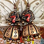 Bronze and red large ethnic peacock jhumkas
