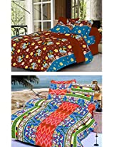 Nature Made Pack of 2 Blue & Brown Printed Double Bed Sheets 250 TC