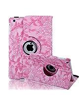 HDE iPad Mini Tablet Case Rotating Flip Stand Folding Magnetic Cover Designer for Apple Mini 2/3 Retina(Pink Flower)