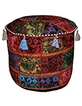 Elegant Patchwork Design Cotton Round Embroidery Ottoman Cover 17 X 17 X 12 Inches