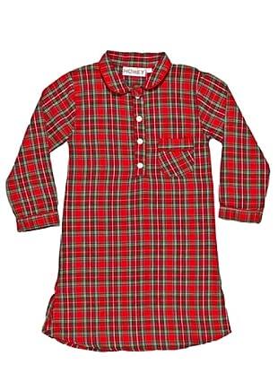 Honey Camicia da Notte Flanella 100% Cotone Nancy Girl (Rosso)