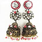Victorian black finish jhumki tingy orange