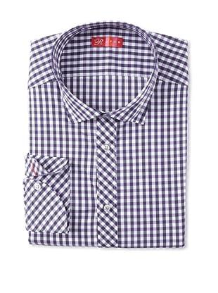 Rufus Men's Button Down Check Shirt (White/Purple)
