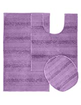 Garland Rug 3-Piece Essence Nylon Washable Bathroom Rug Set, Purple