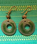 Handmade Unique and Stylish Ochre Ceramic Earring in Green Color