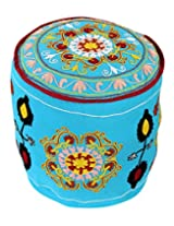 Exclusive Round Turquoise Ottoman Cotton Floral Embroidered Pouf Cover For Decor By Rajrang