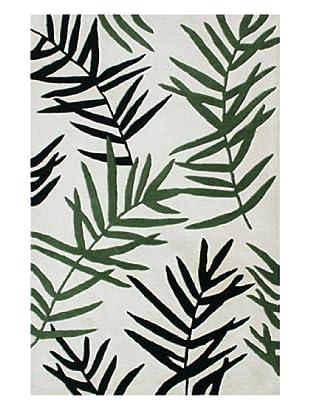 Horizon Alliyah Contemporary Leaf Rug (Ivory/Green Multi)