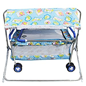 My Angel Steelcraft 7 In 1 Baby Cradle, Cot, Crib, Bassinet, Stroller, Shelter, and Swing - Blue
