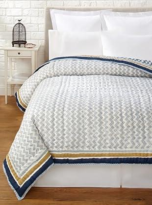 Suchiras Indigo Quilt (Navy Blue/Light Blue/Beige)