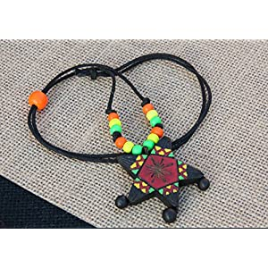 Petals of Earth Terracotta Red, yellow, and green pendant with wooden beads Necklace